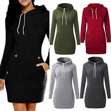 UK Women Ladies Hoody Sweatshirt Long Sleeve Sweater Hoodies Jumper Summer Dress