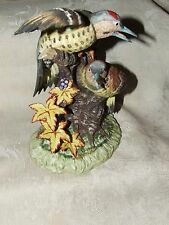 Vintage Yellowhammer Woodpeckers Birds Bisque Porcelain Figurine KIMCO Japan