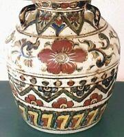Antique Tea Jar Lamp Satsuma Style Pottery -  Floral Vase Accent Lamp