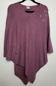 # PARAS 100% PURE CASHMERE PONCHO CAPE S/M PINK GREY MIXED EYELETS 423