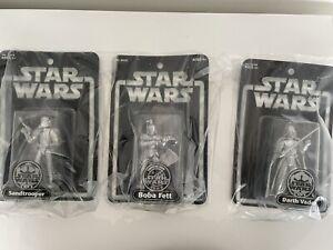 Silver Starcwars Figures Boba Fett , Darth Vader, Sandtrooper Job Lot