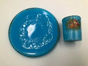 Blue Milk Glass Children's 2pc. Set Cup and Plate Vintage