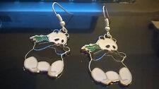 Enamel Panda tibetan silver earrings