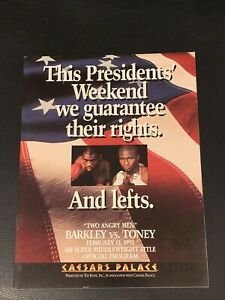 Original 1993 James Toney Vs. Iran Barkley Onsite Boxing Program Mint Condition