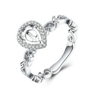 Solid 14k White Gold Semi Mount Pear 7x5mm Diamond Diamonds Ring Setting Jewelry