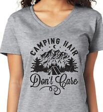 bd2099693f CAMPING HAIR DON'T CARE funny cabin hiking outdoors Women's V-neck ...