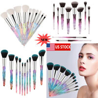 10Pcs Make Up Brushes Cosmetic Powder Foundation Crystal Handle Fashion Design