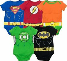 Justice League Baby Boys 5pk Bodysuits- Batman Superman Flash Green Lantern Aqua