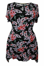 Boat Neck Cap Sleeve Floral Other Women's Tops
