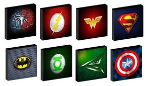 SUPER HERO LOGOS CANVAS PICTURES -  8 DESIGNS SUPERMAN BATMAN SPIDERMAN