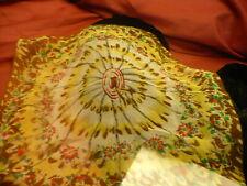 "Chiffon scarf kerchief vintage floral design 16"" square  S178"
