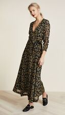 NWT Ganni Marceau Georgette Pri Floral Maxi Wrap Long  Dress Size 34 (XS) $250