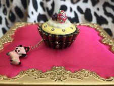 Betsey Johnson Goes To Paris Fruit Tart Cupcake Pig Box Long Locket Necklace