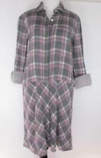 pure DKNY Plaid Shirt Dress Petite S Pink Gray Striped Paneled