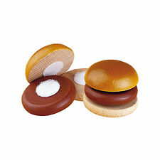 Wooden pretend role play food Erzi kitchen shop: Hamburger to cut velcro toy