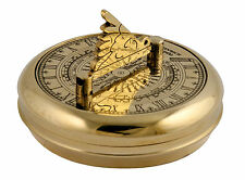 Brass, 'Greenwich' pocket sundial and compass, nautical gift