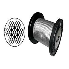 "7 x 7 Clear PVC Galvanized Aircraft Cable Wire Rope 1/8"" to 3/16""  - 1,000 ft"