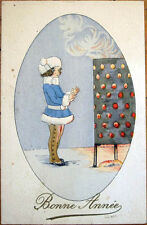 1926 Art Deco New Year Postcard: Girl Warming Hands by Fire in the Snow