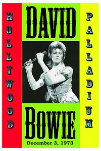 1970's Rock: David Bowie at Hollywood Palladium Concert Poster 1973   12x18