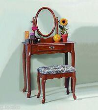 Vanity Dressing Table Mirror Antique Jewelry Vintage Wood Oak Dresser Set Makeup