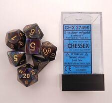 Chessex 7 Dice Set Lustrous Shadow w/ Gold CHX 27499 for D&D & D20