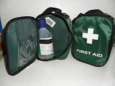 EMPTY TRAVEL FIRST AID KIT BAG WITH COMPARTMENT & EYEWASH BOTTLE STRAP - GREEN