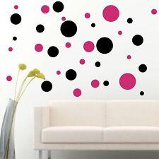 Set Of 56 Black / Hot Pink Polka Dots Circle Wall Decal Vinyl Sticker Wall DIY P