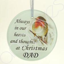 Dad Christmas Robin Memorial Tree Hanging Decoration Gift Plaque Momento Tribut