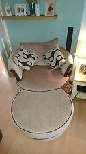 DFS fabric swivel and half moon footstool