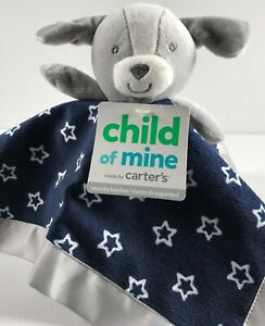"""Carters Baby Security Blanket Puppy Dog Navy Gray Stars Satin Trim Lovey 13"""""""