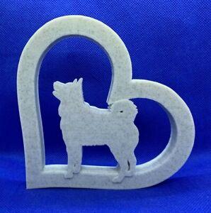 Husky Dog in Heart Shape Home Ornament 10x10x1cm - Various Colours