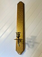 """Home Interior Wood Brass Wall Sconce Candle Holder Gold Tone 20"""""""