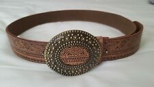 Women's Leather Belt, Tan Brown Patterned, Large Bronze Buckle, Size Small