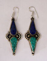 Asian Ethnic Unique  sterling silver earrings design tribal tops turquoise ER26