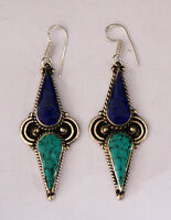 Asian sterling silver earrings asian design ethnic tribal tops turquoise ER26