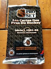 One unopened pack of 1991/92 ProSet french edition hockey cards.