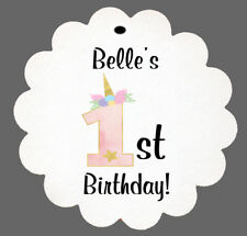 24 Personalized Unicorn Birthday Party Scalloped Tags Party Favors