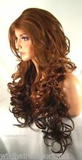 USA Red Auburn ombre Long Lace Front Wig  Heat OK Iron safe Hand tied sas10