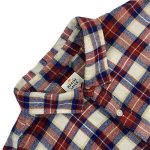 Hommes M/L Marine Layer Rouge/Bleu à Carreaux Coton Flanelle Chemise Bouton