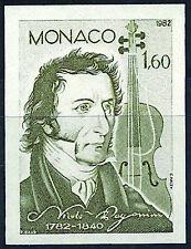 MONACO n° 1344 PAGANINI Musique Violon non dentelé imperf, superbe **