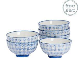 Patterned Rice Dessert Cereal Soup Bowls Porcelain Crockery Blue Flower 114mm x6