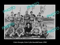 OLD LARGE HISTORIC PHOTO OF CAIRO GEORGIA THE FIRST CAIRO BASEBALL TEAM 1904