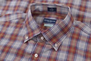 NWT Peter Millar Collection Large Dress Shirt Blue Orange Brand New Egyptian Cot