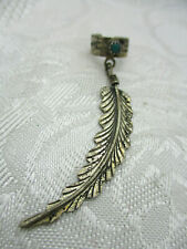 Vintage Estate Southwestern Sterling J Turquoise Feather Single Cuff Earring