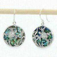 Sea Turtle Hook Earrings Abalone Paua Shell Silver Fashion Jewellery 25mm NEW