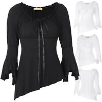 Retro Steampunk Gothic Women's Victorian Off Shoulder Flare Sleeve Shirt Tops