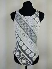 Vtg Mainstream Womens Size 10 One Piece Swimsuit Textured Knit Floral Striped M
