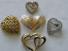 Vintage Fashion Jewelry Gold Silve Tone Rhinestone Heart Brooch Pin Lot