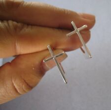 Mexican 925 Silver Taxco Shiny Modern Unique CROSS Design HOOP Medium Earrings
