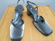 CLARKS Silver Shimmer Fabric Sandal Shoes @ Size 7 Party Heeled Strappy